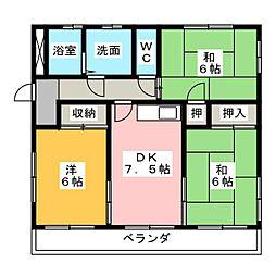 ウイング生田[2階]の間取り