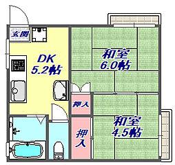兵庫県神戸市東灘区住吉山手3丁目の賃貸マンションの間取り