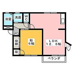 LIBERTY IWAMOTO B[2階]の間取り