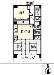 愛知県名古屋市北区垣戸町2丁目の賃貸マンションの間取り