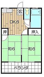 コーポ青山[203号室]の間取り