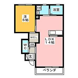 ロイヤルヨークIII A 1階1LDKの間取り
