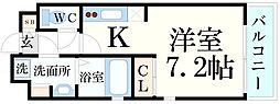 JR東海道・山陽本線 甲南山手駅 徒歩2分の賃貸マンション 4階ワンルームの間取り