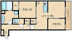 大阪府東大阪市新池島町3丁目の賃貸アパートの間取り