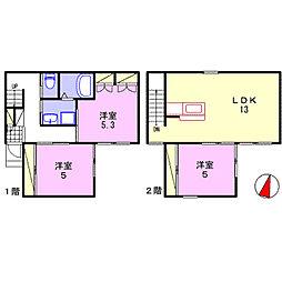 [一戸建] 兵庫県姫路市白国3丁目 の賃貸【/】の間取り