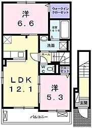 兵庫県姫路市御立東6丁目の賃貸アパートの間取り