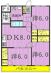 セナリオコート増尾イーストA・B[B105号室]の間取り
