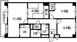 パレドール円山[01001号室]の間取り