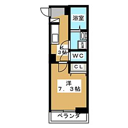 東急目黒線 不動前駅 徒歩3分の賃貸マンション 2階1Kの間取り