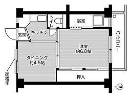 ビレッジハウス茨木2号棟 1階1DKの間取り