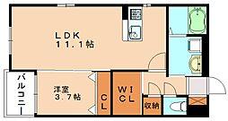 プレステージ篠栗[5階]の間取り