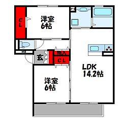 D-roomS・K B棟[1階]の間取り
