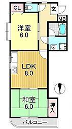 アメニティK&K−1[3O1号室号室]の間取り
