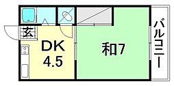 中川荘 西棟[101 号室号室]の間取り