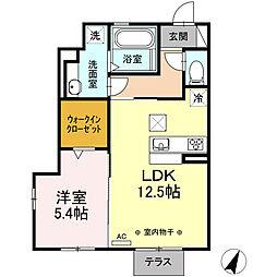 名鉄名古屋本線 新清洲駅 徒歩8分の賃貸アパート 1階1LDKの間取り