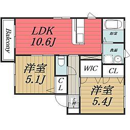 千葉県四街道市めいわ1丁目の賃貸アパートの間取り