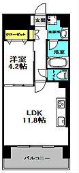 プレメント豊中 5階1LDKの間取り