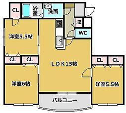 三重県鈴鹿市白子町の賃貸マンションの間取り