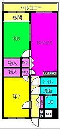 グラン・シャリオ二階堂 6階2LDKの間取り