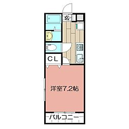 エルデルポ志井 1階1Kの間取り