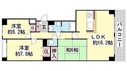 神戸北町ソレアードコートC棟[5F号室]の間取り