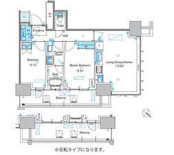 パークアクシス豊洲キャナル 9階2LDKの間取り