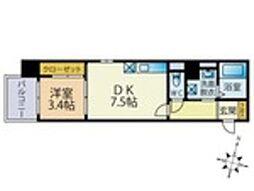 西鉄天神大牟田線 雑餉隈駅 徒歩4分の賃貸マンション 8階1DKの間取り