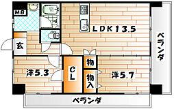 ザ・ヒルズ戸畑 B棟[11階]の間取り