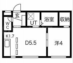PALMYRA(パルミラ) 2階1DKの間取り