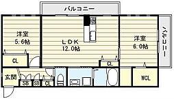 ラ・シゴーニュイースト[3階]の間取り