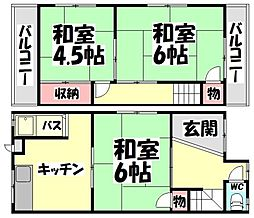 [タウンハウス] 大阪府堺市西区浜寺石津町西4丁 の賃貸【/】の間取り