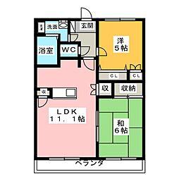 愛知県日進市浅田町西前田の賃貸マンションの間取り