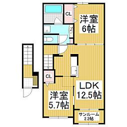 JR飯田線 伊那松島駅 徒歩17分の賃貸アパート 2階2LDKの間取り
