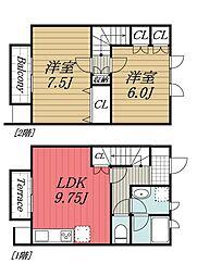 千葉県成田市はなのき台1丁目の賃貸アパートの間取り