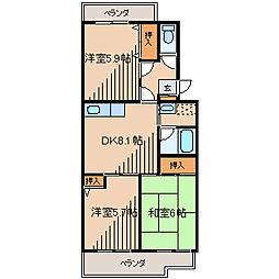 東京都町田市金森2丁目の賃貸マンションの間取り