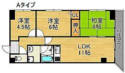 パシフィック帝塚山西[3階]の間取り