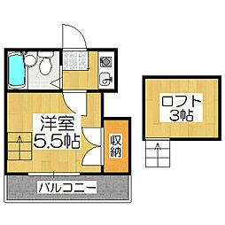 京都府京都市山科区小山谷田町の賃貸アパートの間取り