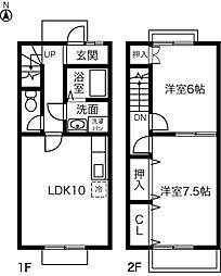 [テラスハウス] 愛知県稲沢市下津町西下町 の賃貸【/】の間取り