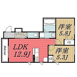 千葉県千葉市若葉区小倉台2丁目の賃貸アパートの間取り