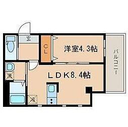 シーズ・ガレリア目黒 3階1LDKの間取り