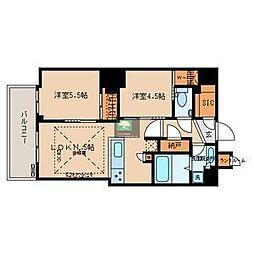 文京ガーデン・ザ・サウス 16階2LDKの間取り