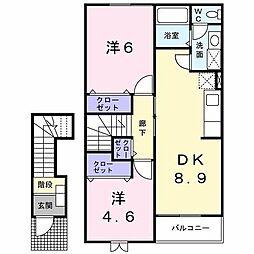 ラ・シヤンス八橋[2階]の間取り