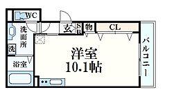 JR東海道・山陽本線 六甲道駅 徒歩8分の賃貸アパート 2階ワンルームの間取り