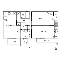 福井県福井市狐橋1丁目 [テラスハウス] の間取り
