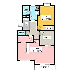 ニューサンハイツ中田[1階]の間取り