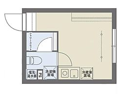 COCOFLAT SASAZUKAIII 3階ワンルームの間取り