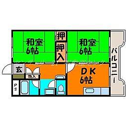 岡山県岡山市中区原尾島の賃貸マンションの間取り