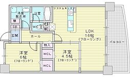 Osaka Metro御堂筋線 江坂駅 徒歩10分の賃貸マンション 5階2LDKの間取り