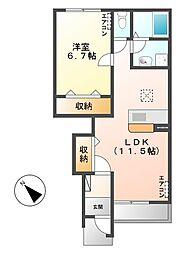 笠間市美原新築アパート[105号室号室]の間取り