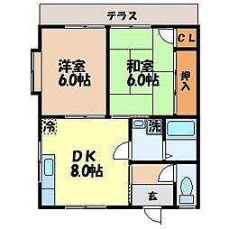 長崎県諫早市福田町の賃貸アパートの間取り